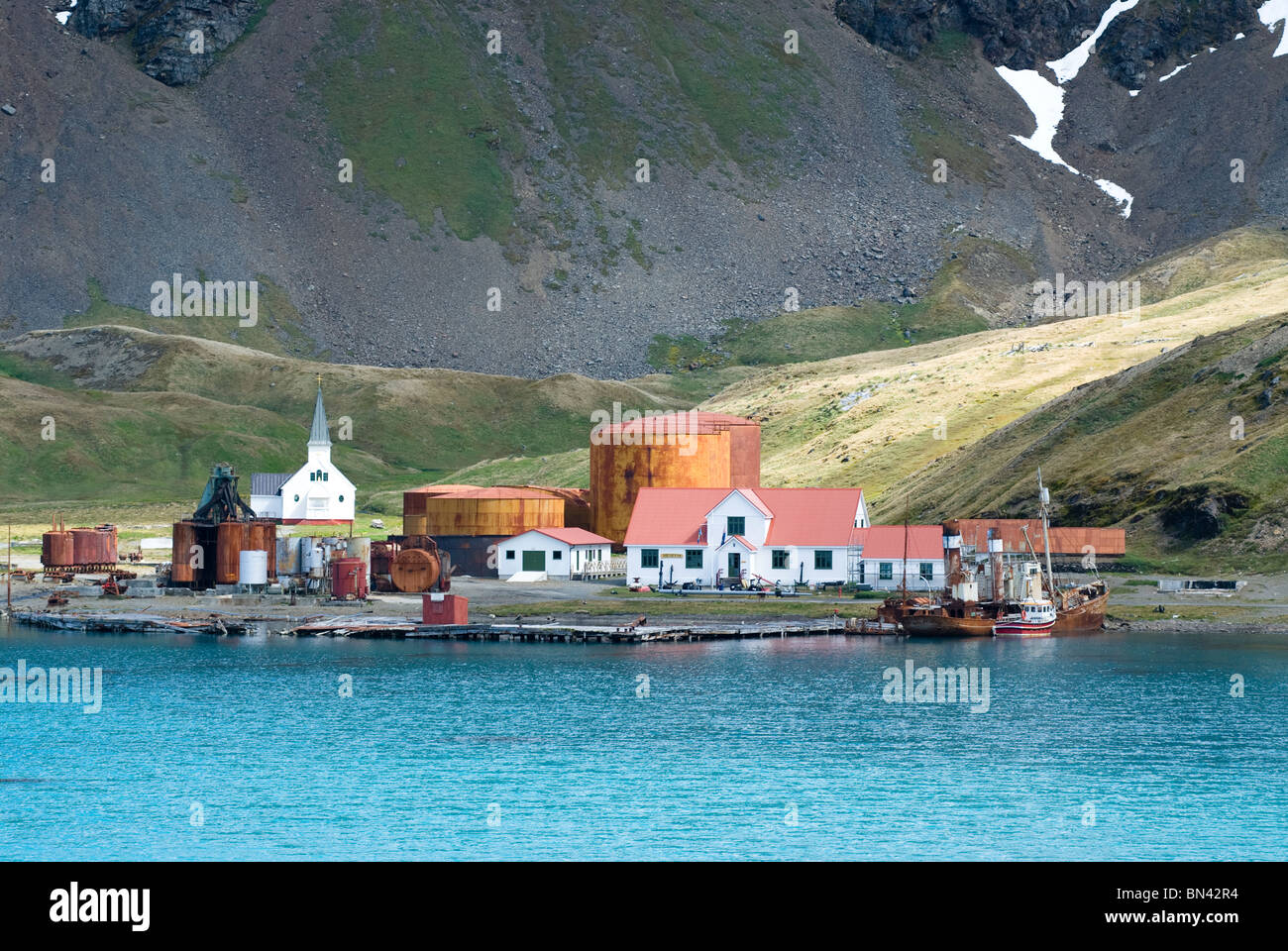 Grytviken, a former whaling station, view from boat, South Georgia - Stock Image