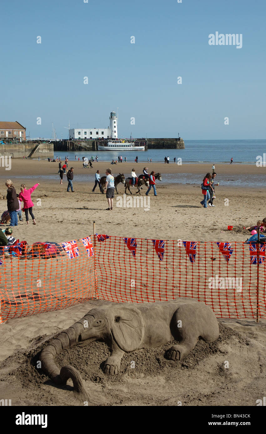 sand sculpture of an elephant, Scarborough, North Yorkshire, England, UK - Stock Image