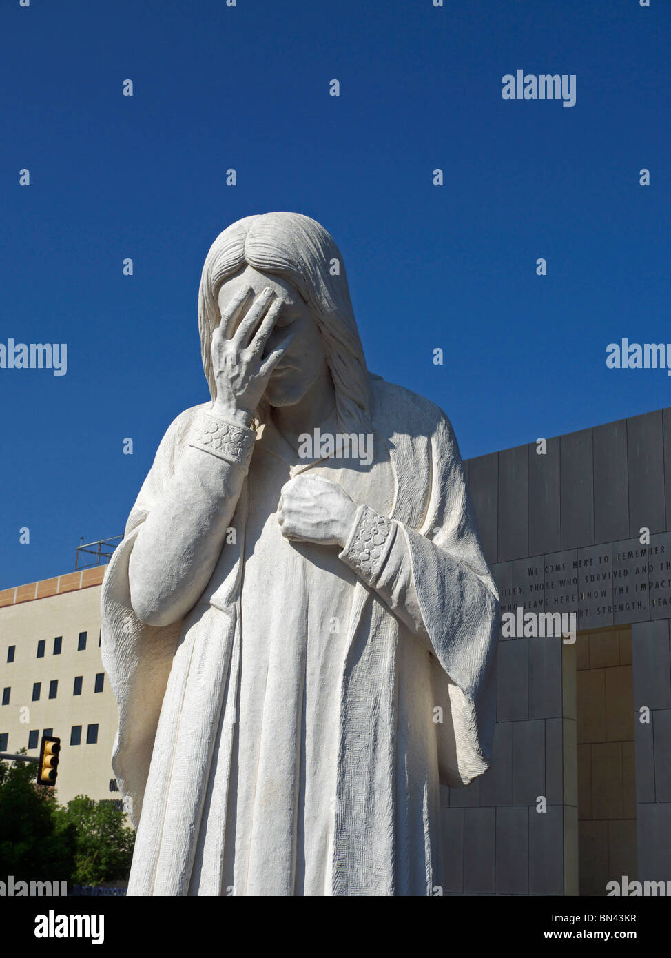 The sculpture entitled 'And Jesus Wept' adjacent to the Oklahoma City National Memorial. Stock Photo