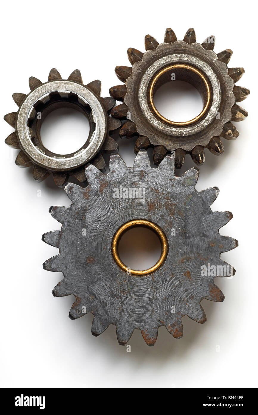 collection of gears on white - Stock Image