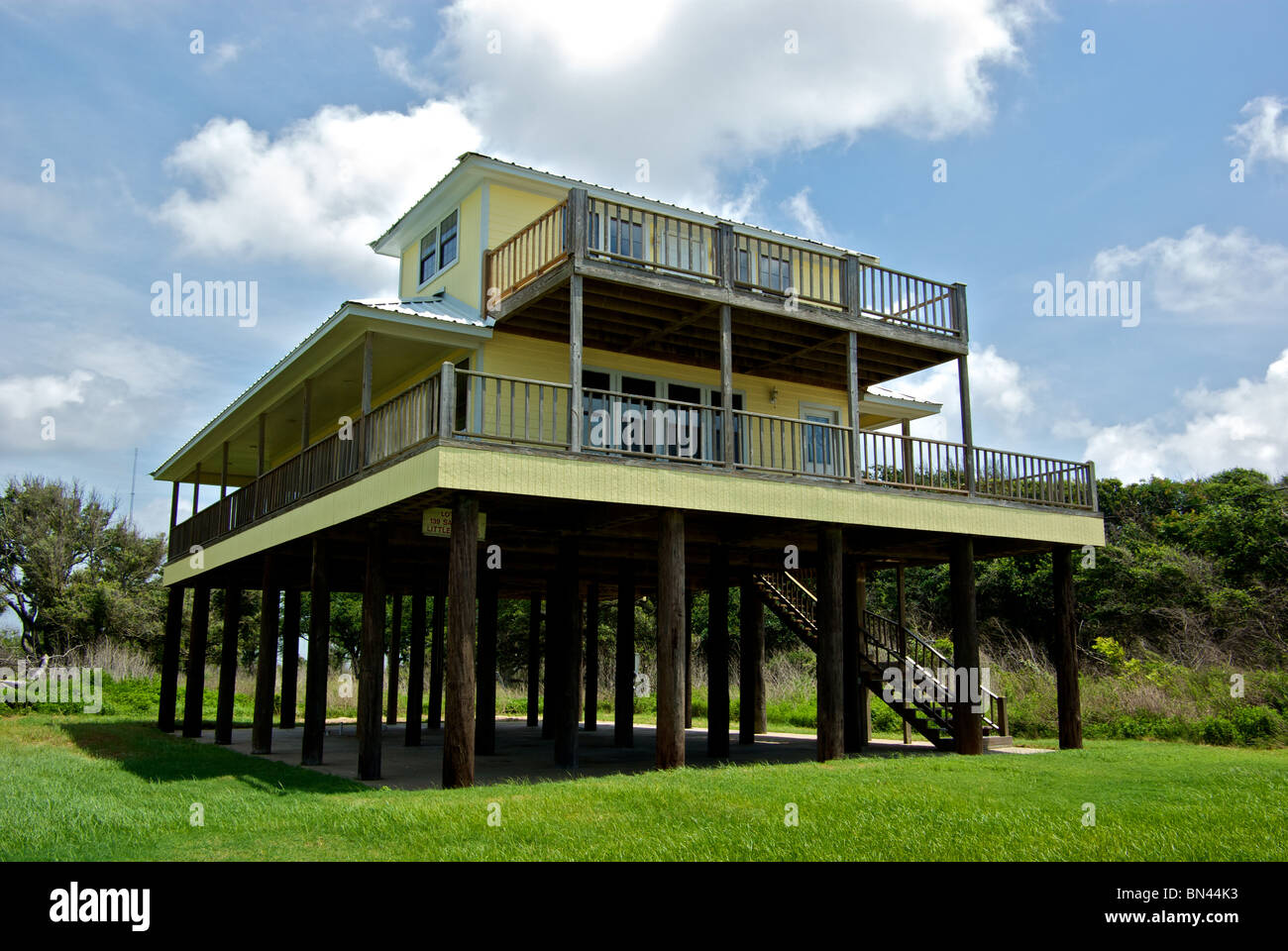 Gulf coast beach house raised on stilts for hurricane storm surge