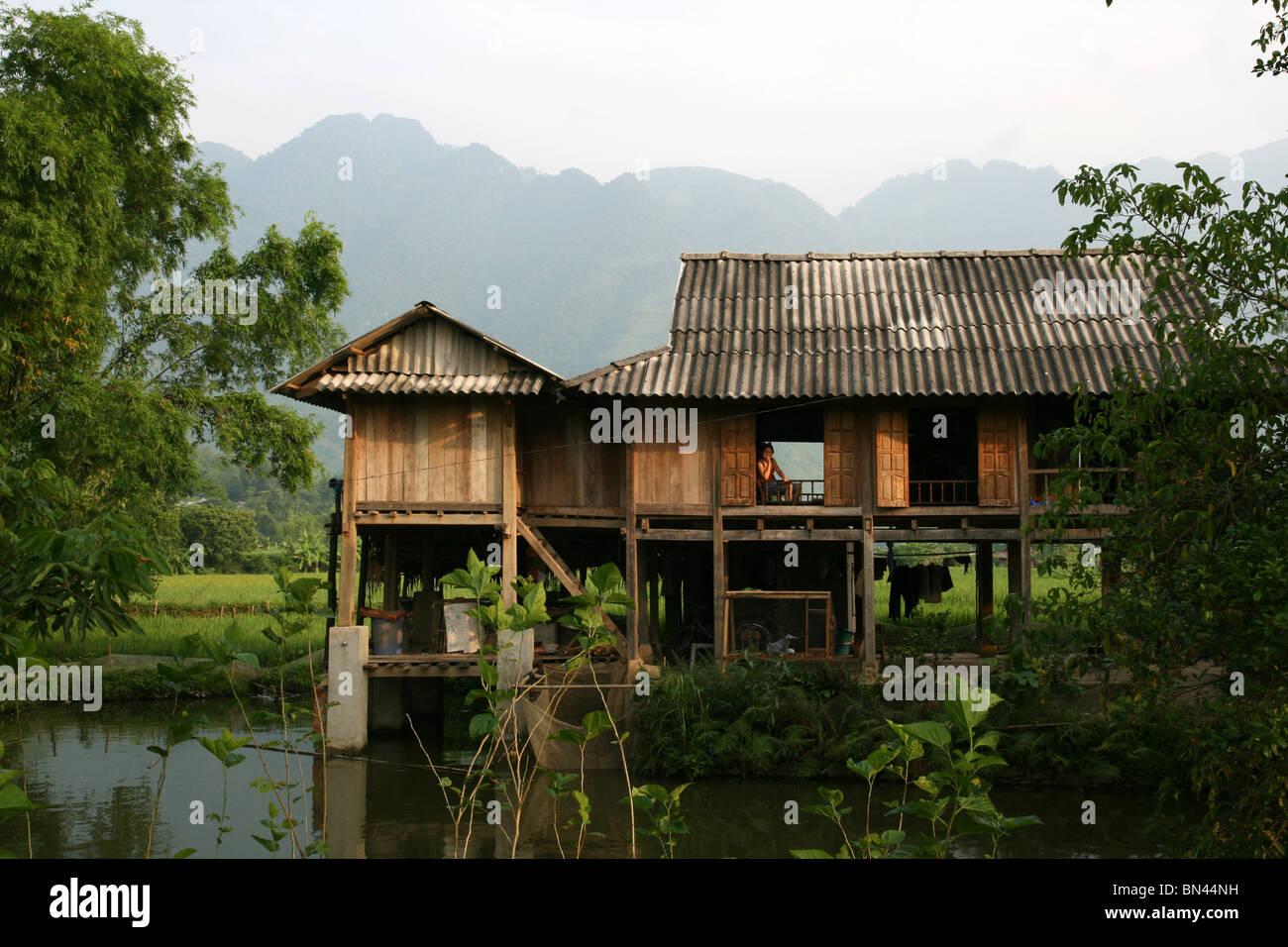 Wooden Stilt House In The Mai Chau Valley, Vietnam