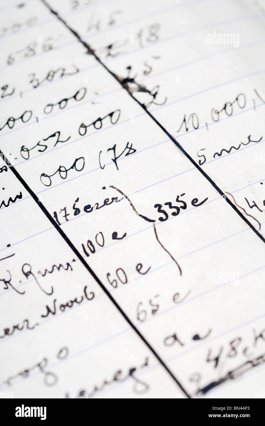 a detal from an old notebook - home finances - Stock Image