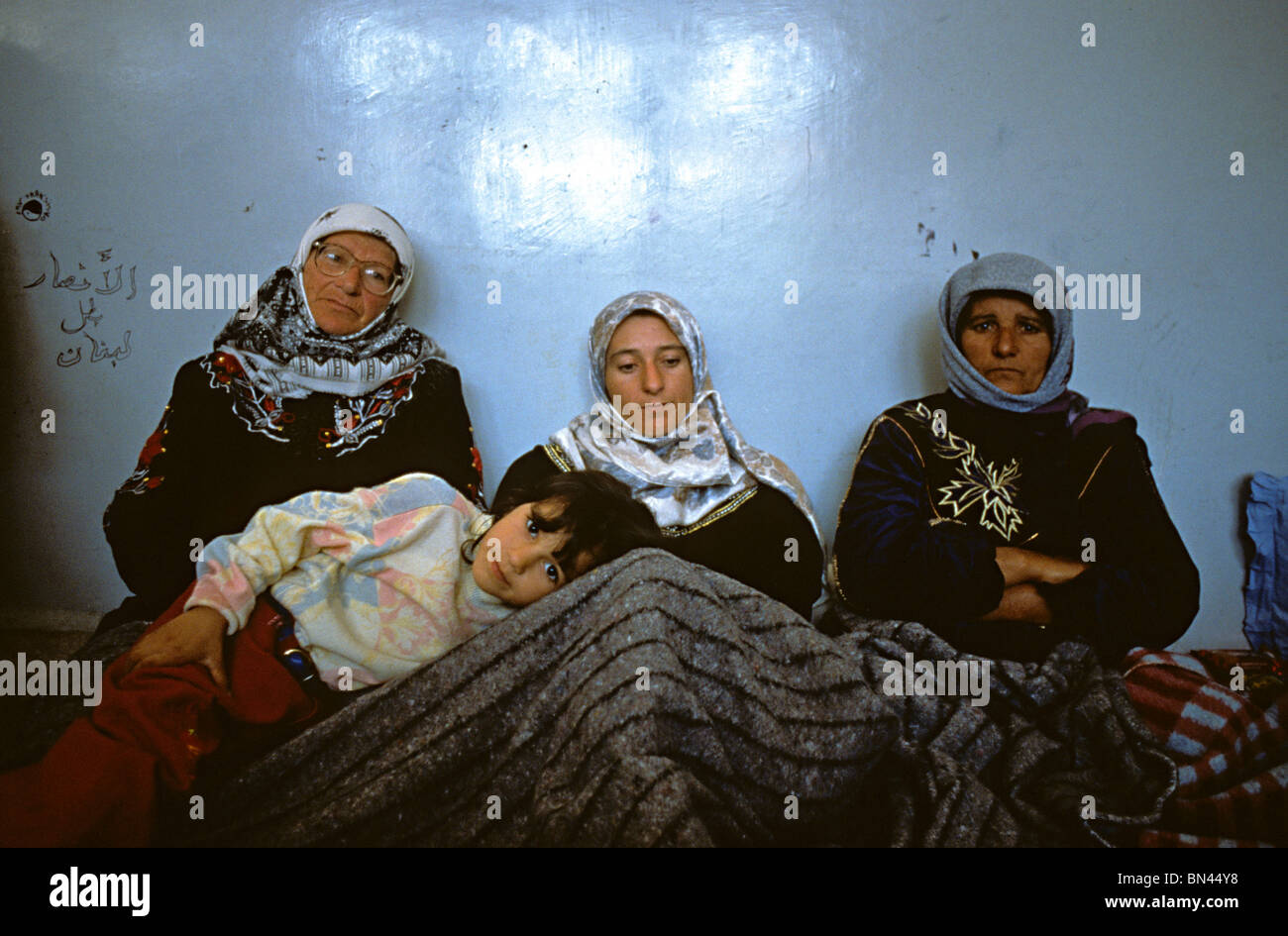 Civilian refugees from South Lebanon taking refuge  in a School Beirut during Israeli shelling in 1997 of South - Stock Image