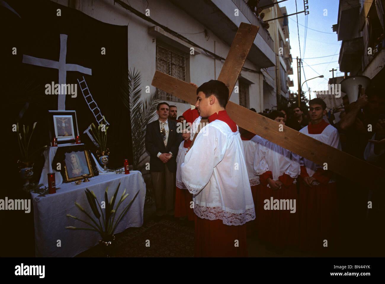 Christian Easter celebration Beirut Lebanon, - Stock Image
