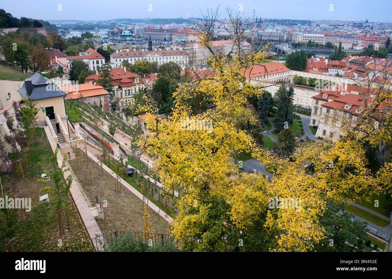 Rooftop view from the back entrance to the Castle, Prague - Stock Image