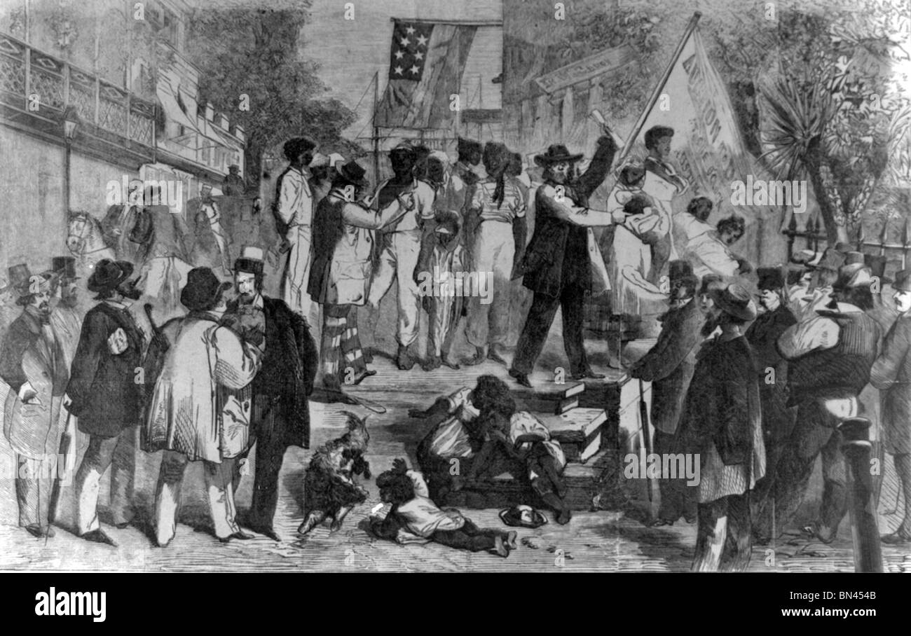 A slave auction in the USA south, 1861 - Stock Image