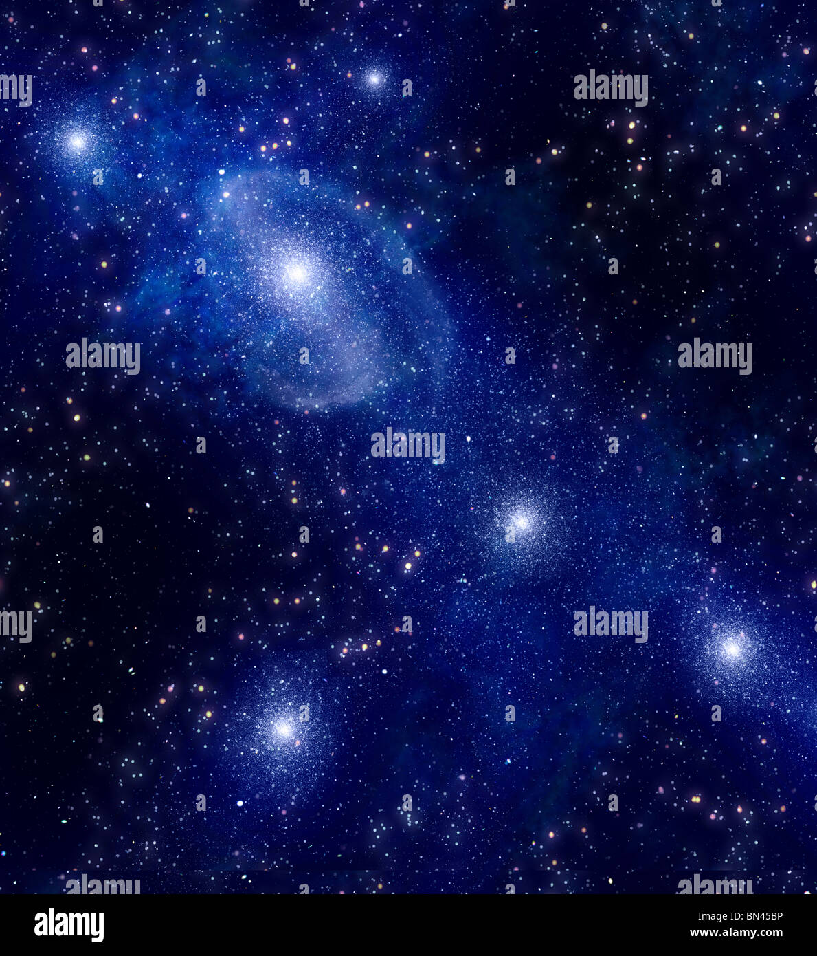 deep outer space background with stars and nebula - Stock Image