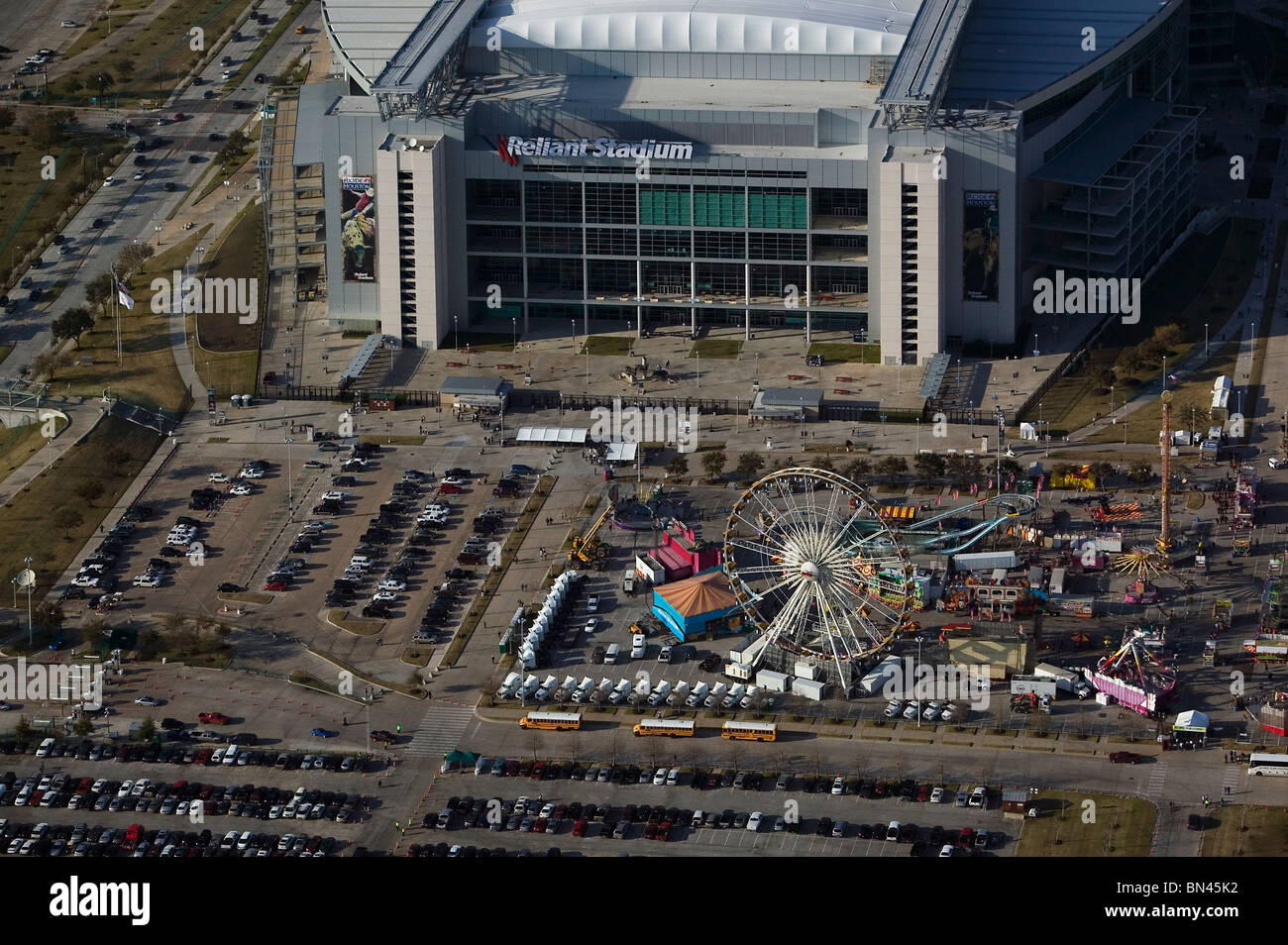 Aerial View Above Houston Livestock Show And Rodeo Reliant