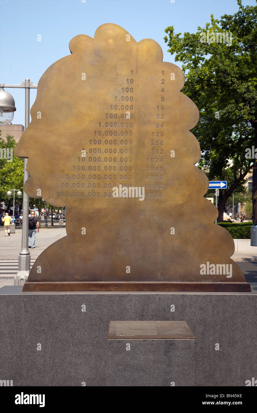 Monument to Leibniz and the binary system, Hannover, Lower Saxony, Germany Stock Photo