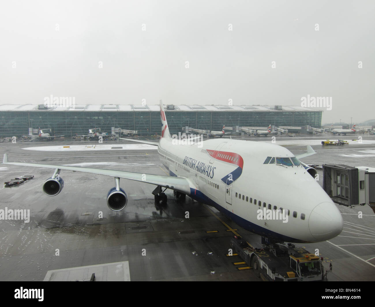 British Airways Boeing 747 Jumbo Jet at Heathrow Terminal 5 London England UK Europe - Stock Image