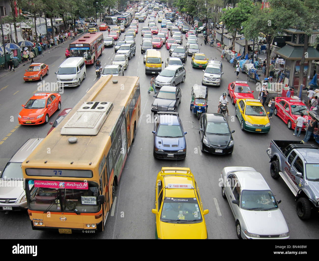 road street traffic jam gridlock congestion in Bangkok thailand asia - Stock Image