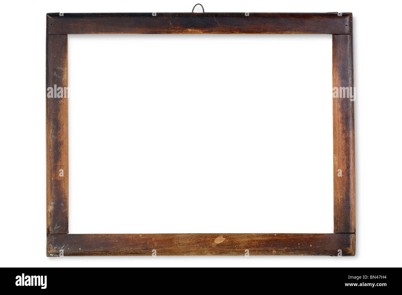 an old wooden frame on white - Stock Image