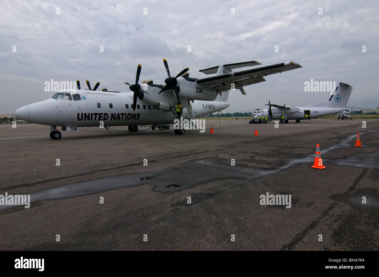 A turboprop-powered de Havilland Canada DHC-7 airplane, popularly known as the Dash 7 of the United Nations Humanitarian - Stock Image