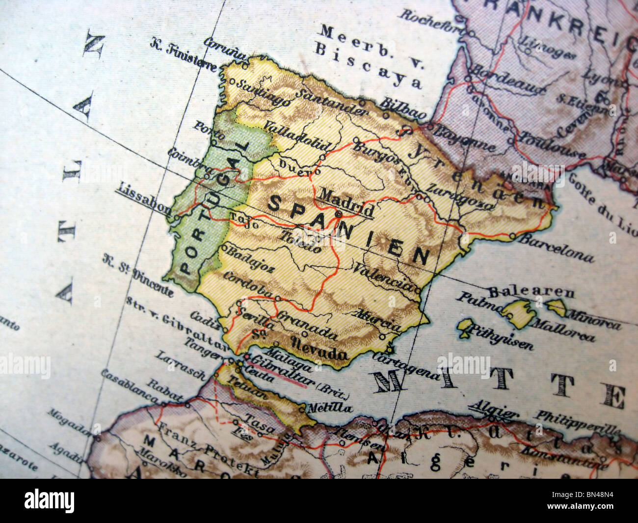 Ancient Map Of Spain Handmade In 1881 Stock Photo 30212816 Alamy