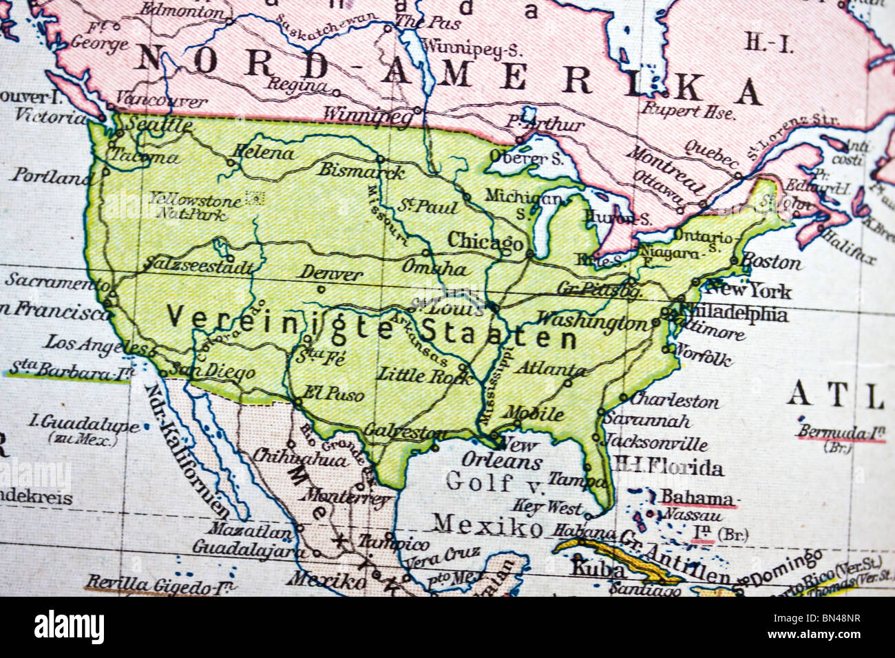 Ancient map of America. Handmade in 1881 Stock Photo: 30212835   Alamy