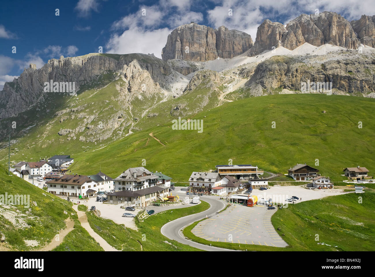 summer view of Pordoi pass dominated by Sella mout, Trentino, Italy - Stock Image