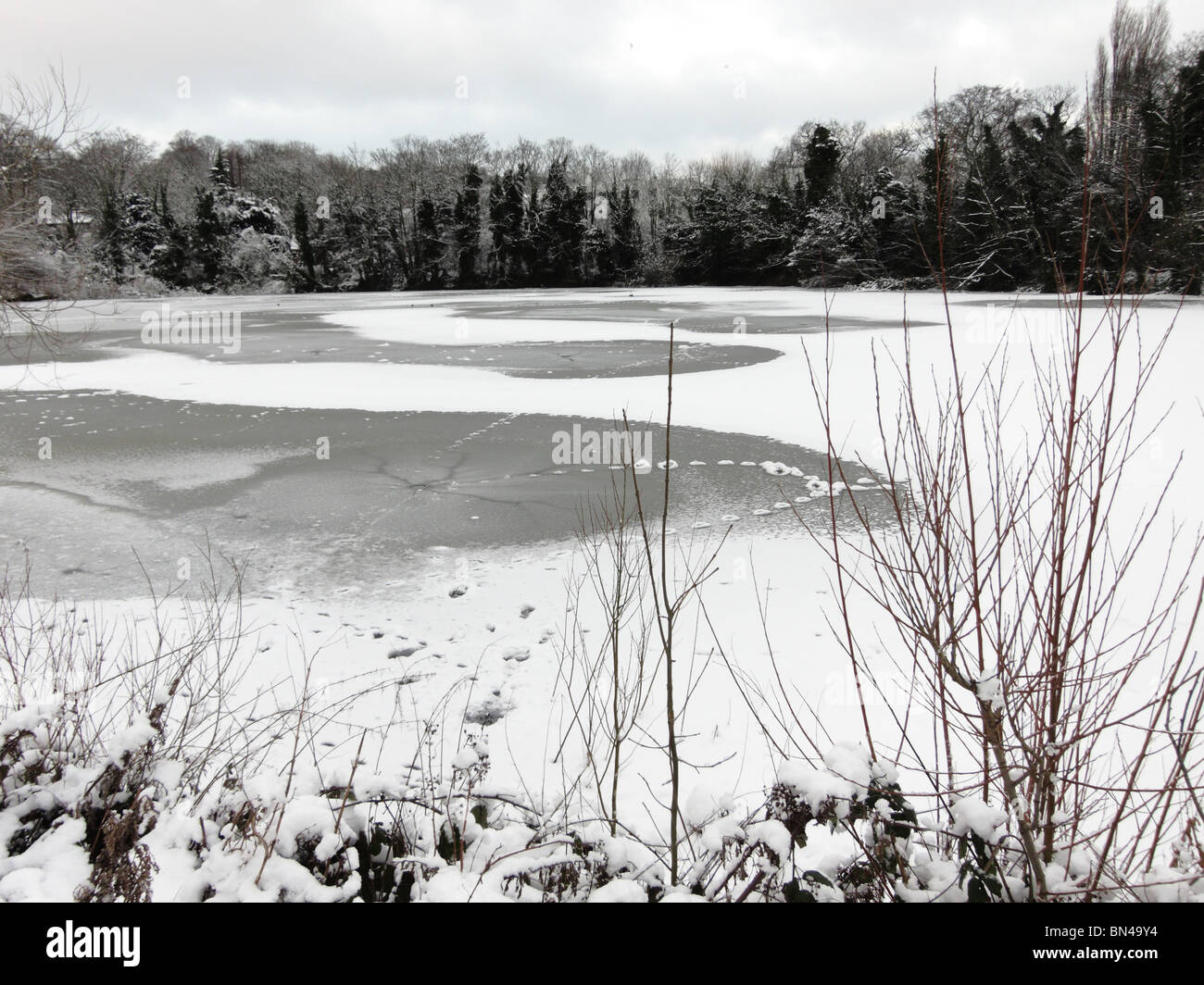 Snow and ice in Winter on Hampstead Heath ponds in London England UK Stock Photo