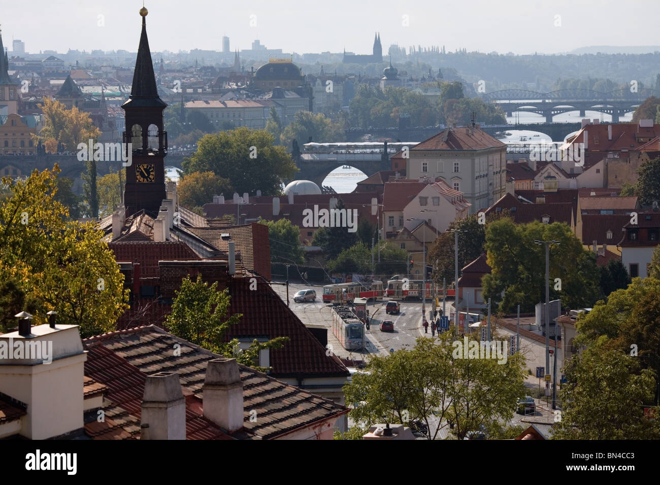 Rooftop view of the City, Prague - Stock Image