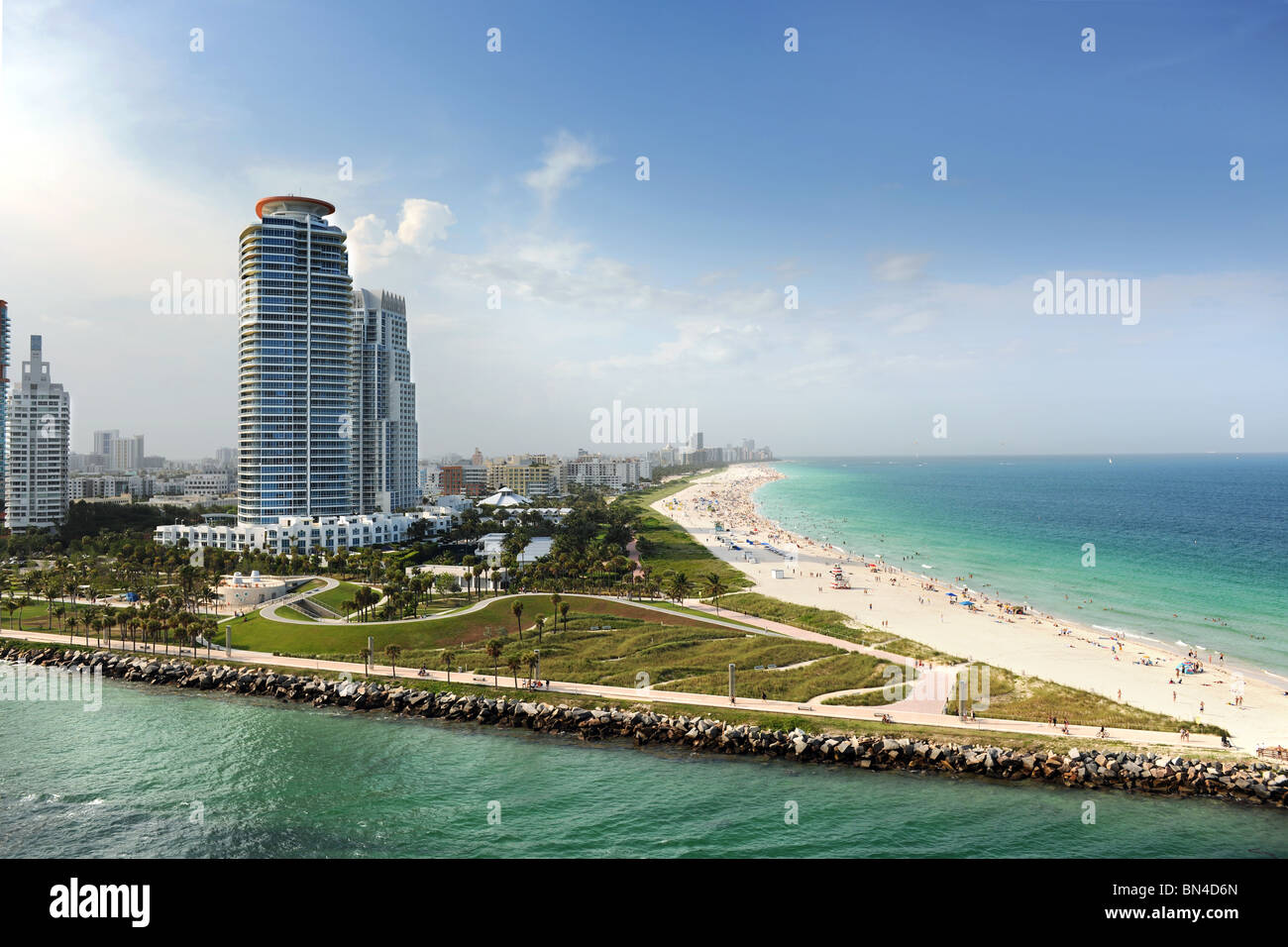 Miami Beach in Florida with luxury apartments and waterway - Stock Image