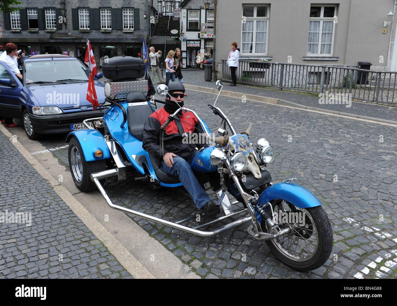 Motor bike or trike in Monschau in Eifel National Park Germany Deutschland Europe Stock Photo