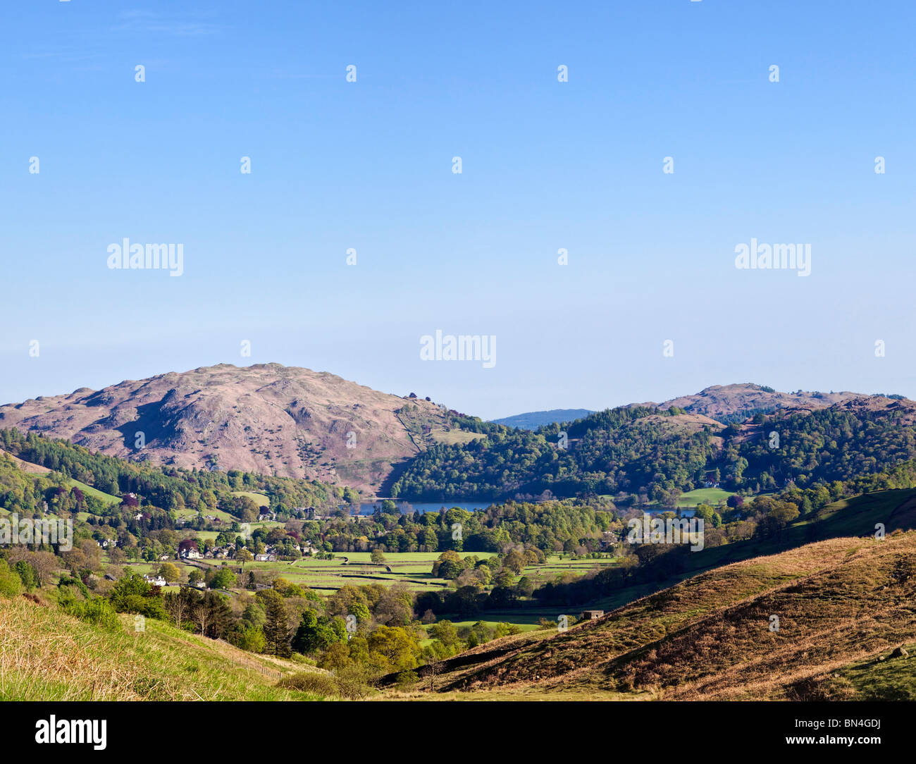 Grasmere lake and Loughrigg Fell from Dunmail Raise, Lake District, UK - Stock Image
