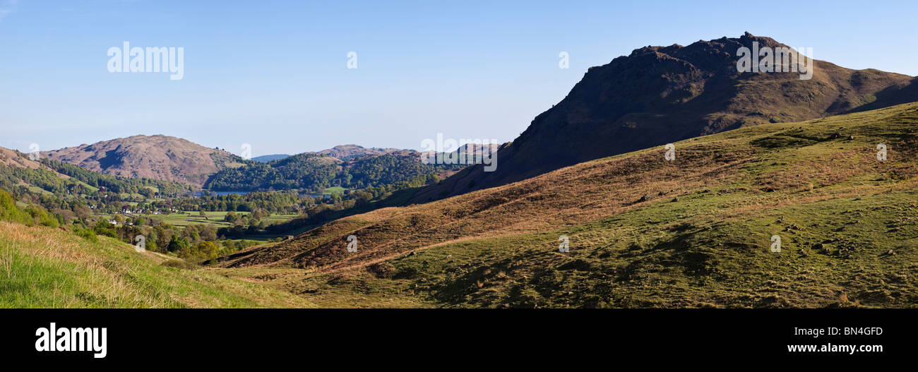 Helm Crag overlooking Grasmere valley from Dunmail Raise, The Lake District, Cumbria, England, UK - Stock Image