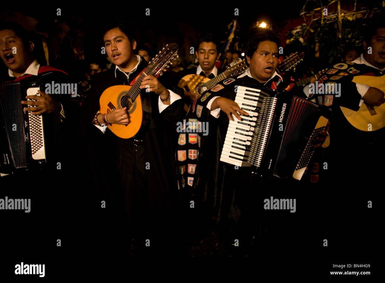 University musicians, known as tunos, play during holy week celebrations in Oaxaca, Mexico, April 12, 2009. Stock Photo
