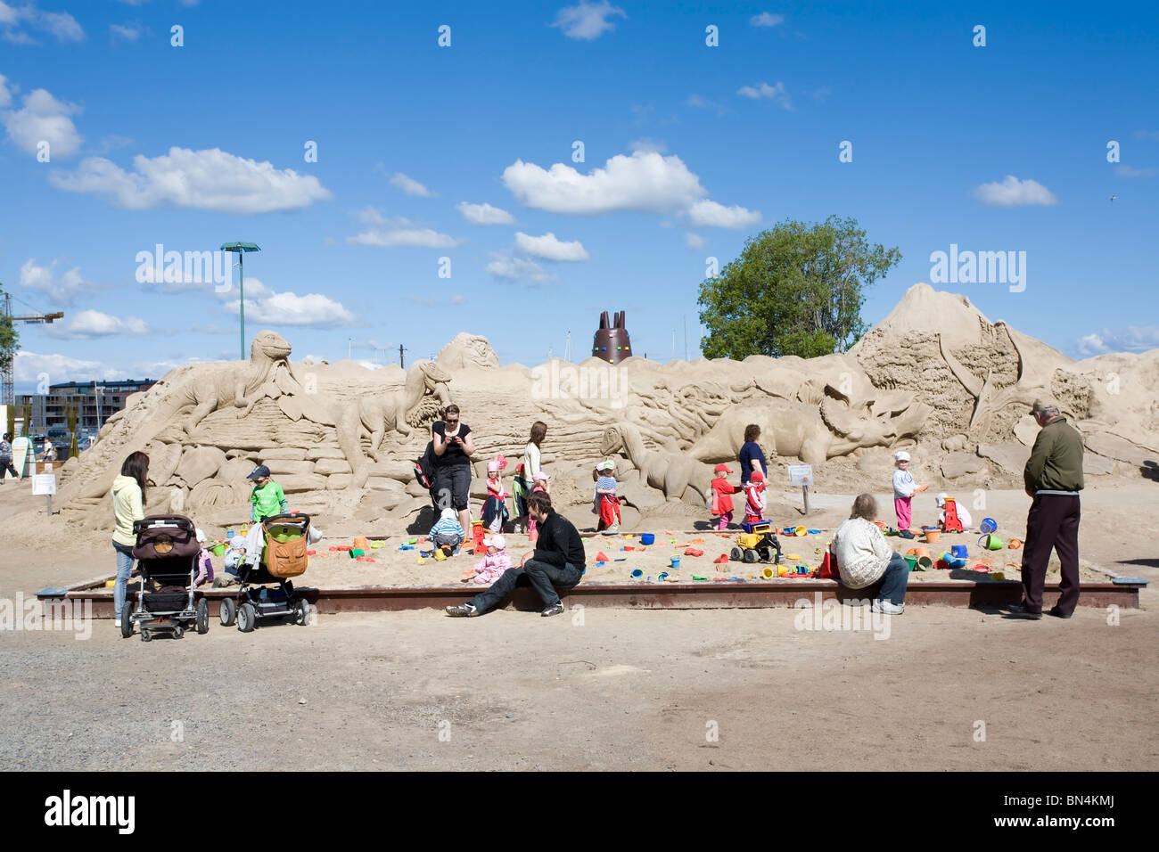 Sandbox with families in Lappeenranta Finland Europe - Stock Image