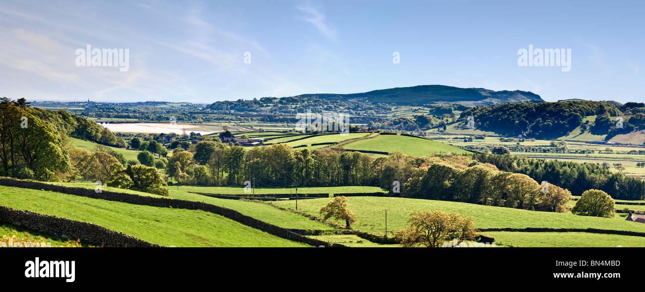 Farmland overlooking Duddon Valley towards Duddon Bridge, The Lake District, Cumbria, England, UK - Stock Image
