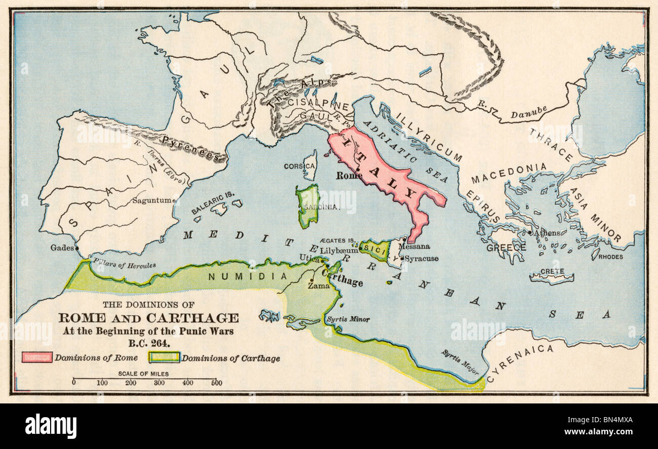 Territories of Rome and Carthage at the outset of the Punic Wars, 264 BC. Color halftone - Stock Image
