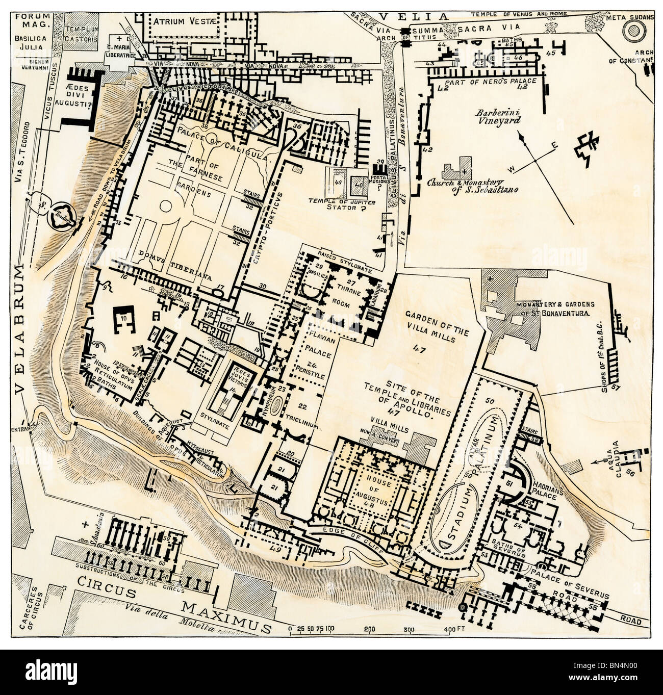 map of palatine hill city center of ancient rome. Black Bedroom Furniture Sets. Home Design Ideas