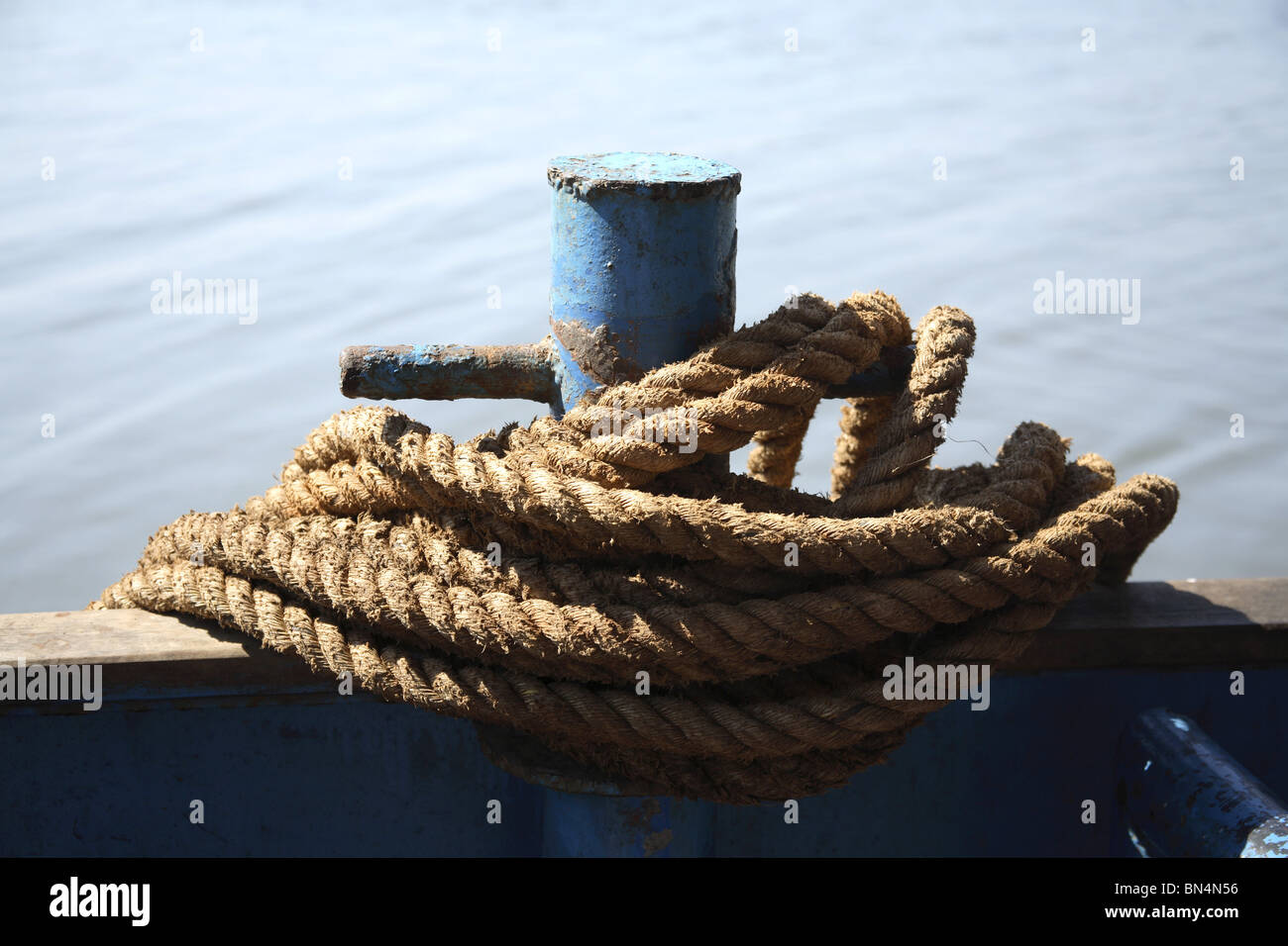 Coir Rope on the ferry boat ; Goa ; India - Stock Image
