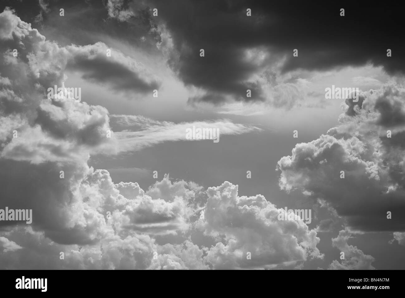 Black and White Sky and Clouds - Stock Image