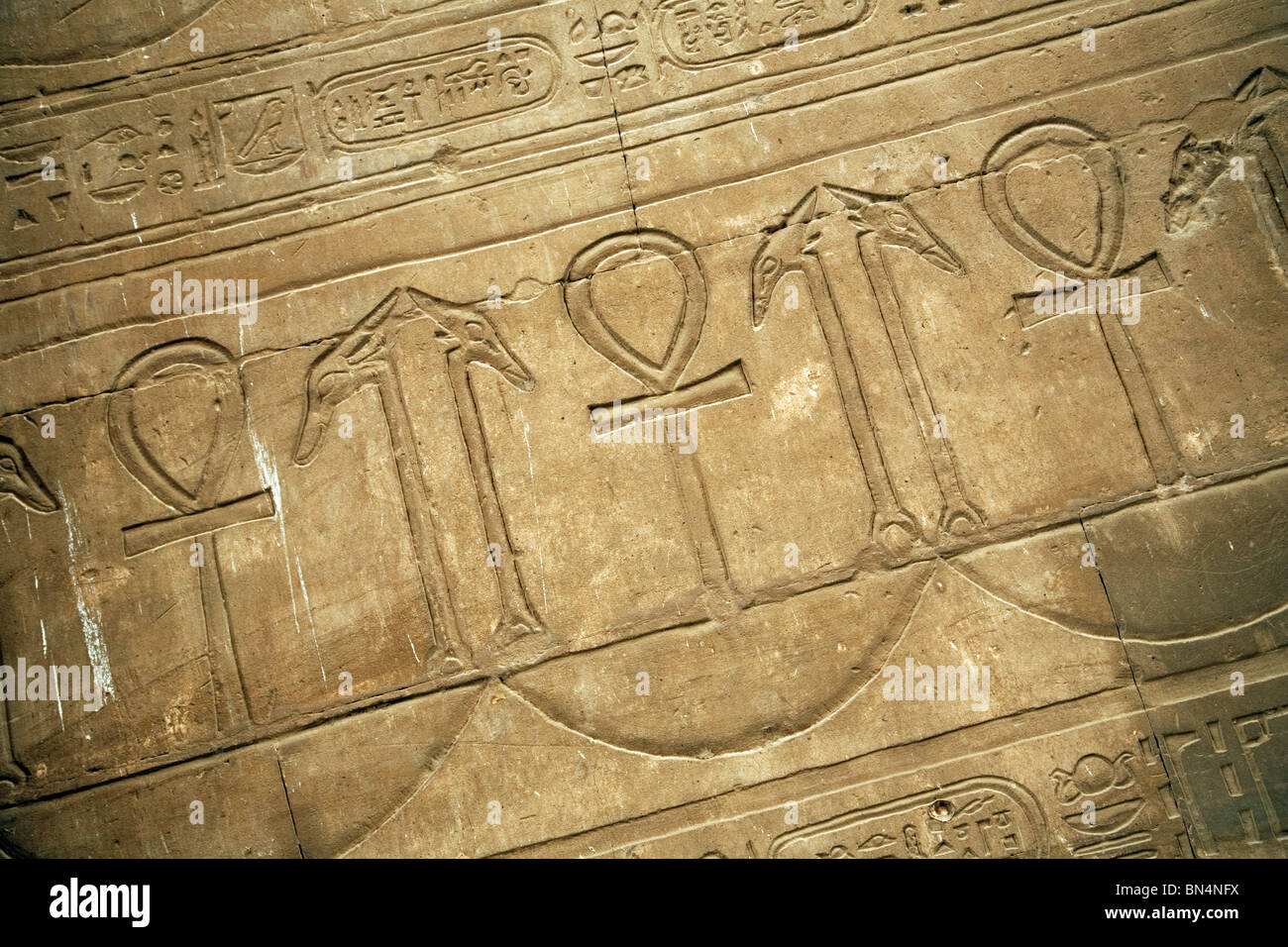 Hieroglyphics and Bas relief carved pictures of the Ankh, at Edfu temple, Egypt - Stock Image