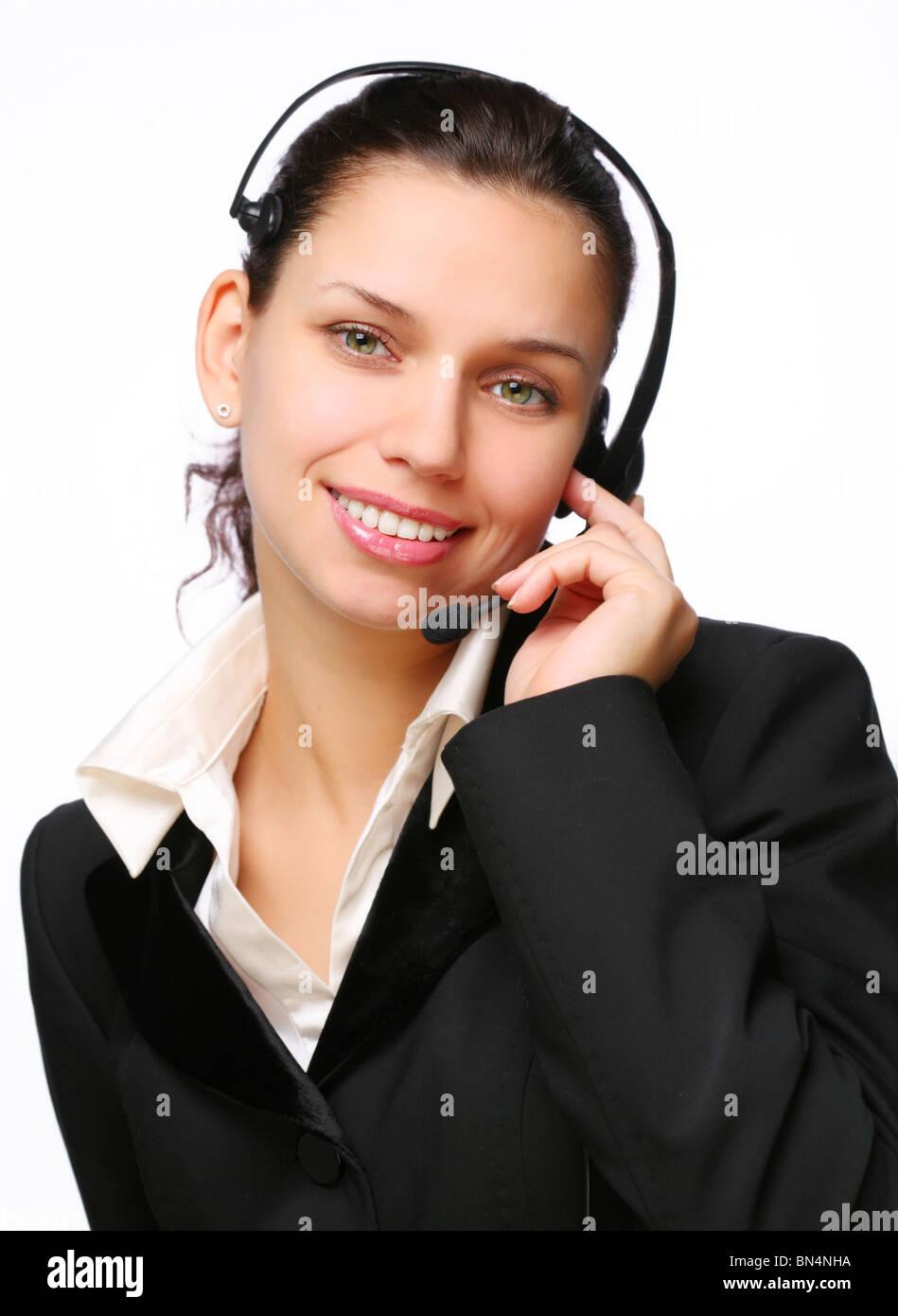 Smiling call-center operator. - Stock Image