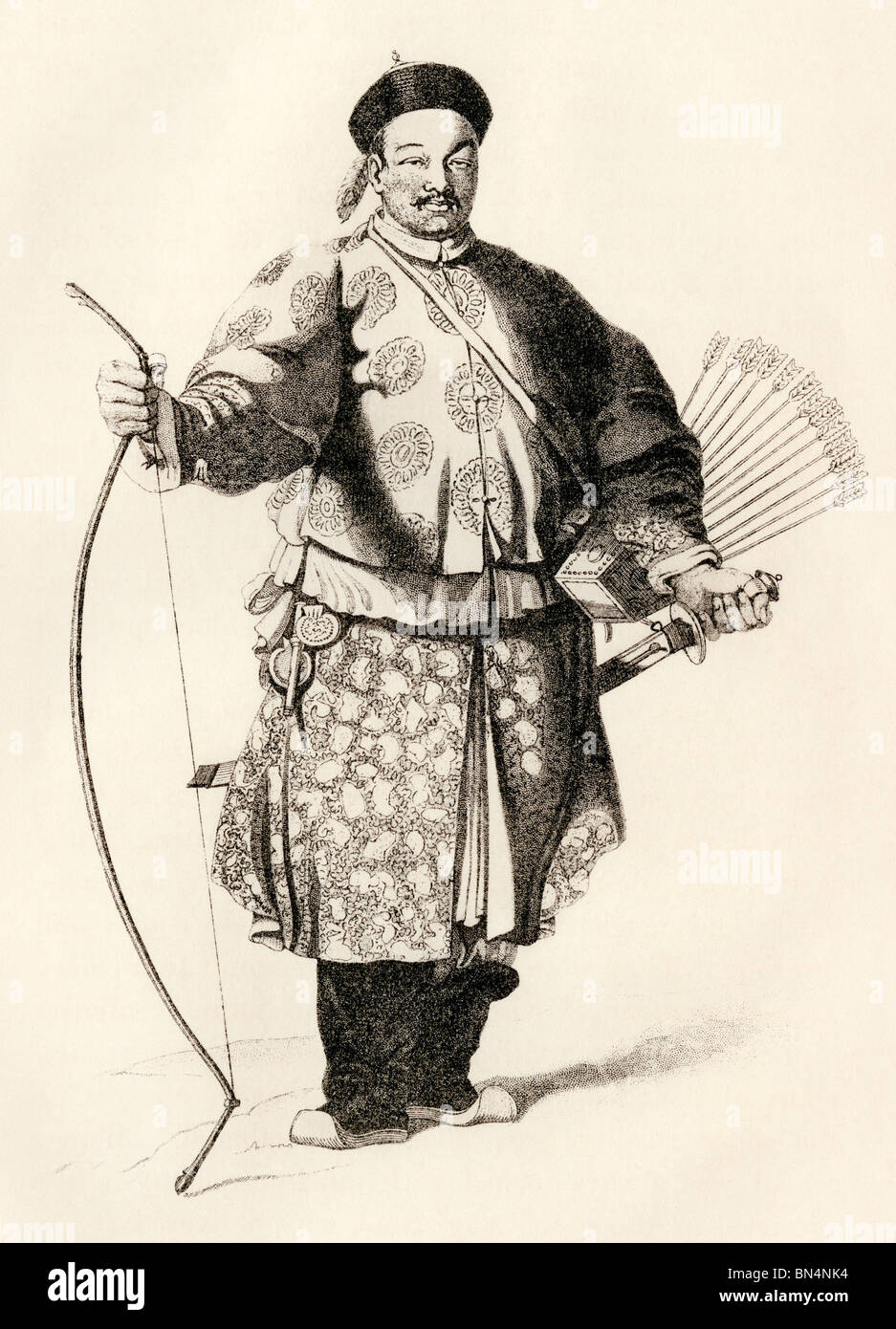 Archer in the Chinese army in traditional uniform, 1800s. Woodcut - Stock Image