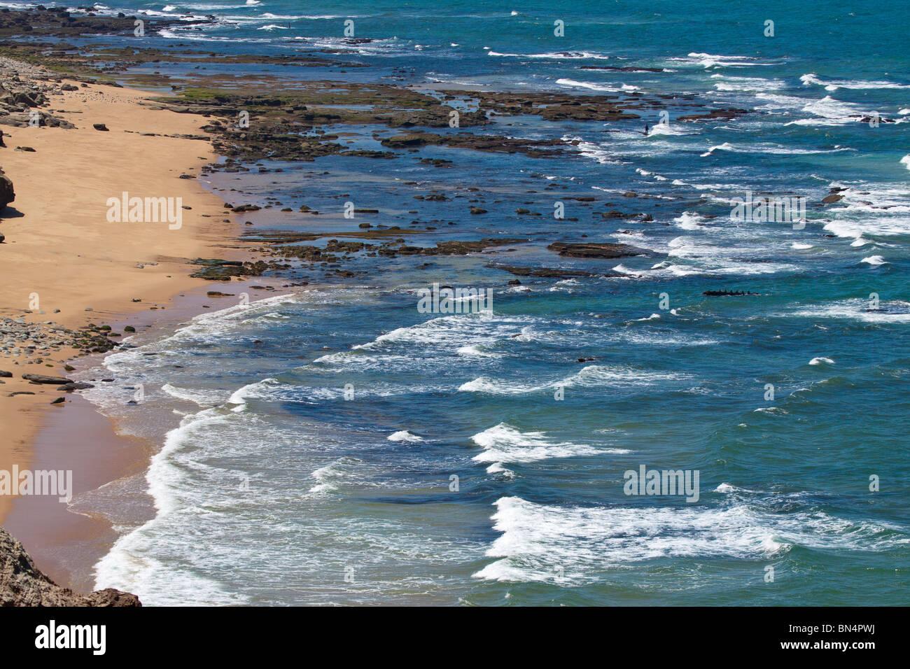 atlantic beach loneliness peaceful portugal quiet. solitary sea sisandro torres vedras - Stock Image
