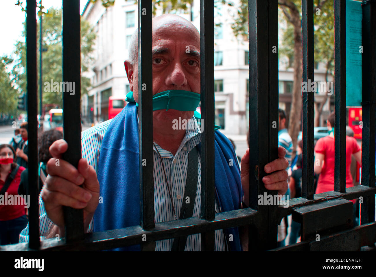 Italians protest in London against attacks on freedom of speech in Italy - Stock Image