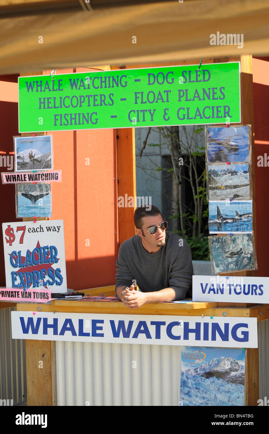 Whale Watching Tours sales, Kiosk/Booth. - Stock Image