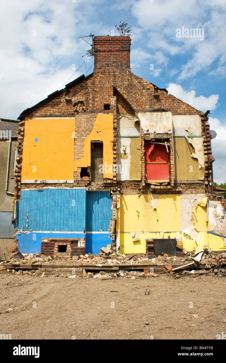 Terraced houses being demolished, Charlestown/ Lower Kersal area of Salford, Greater Manchester, UK - Stock Image