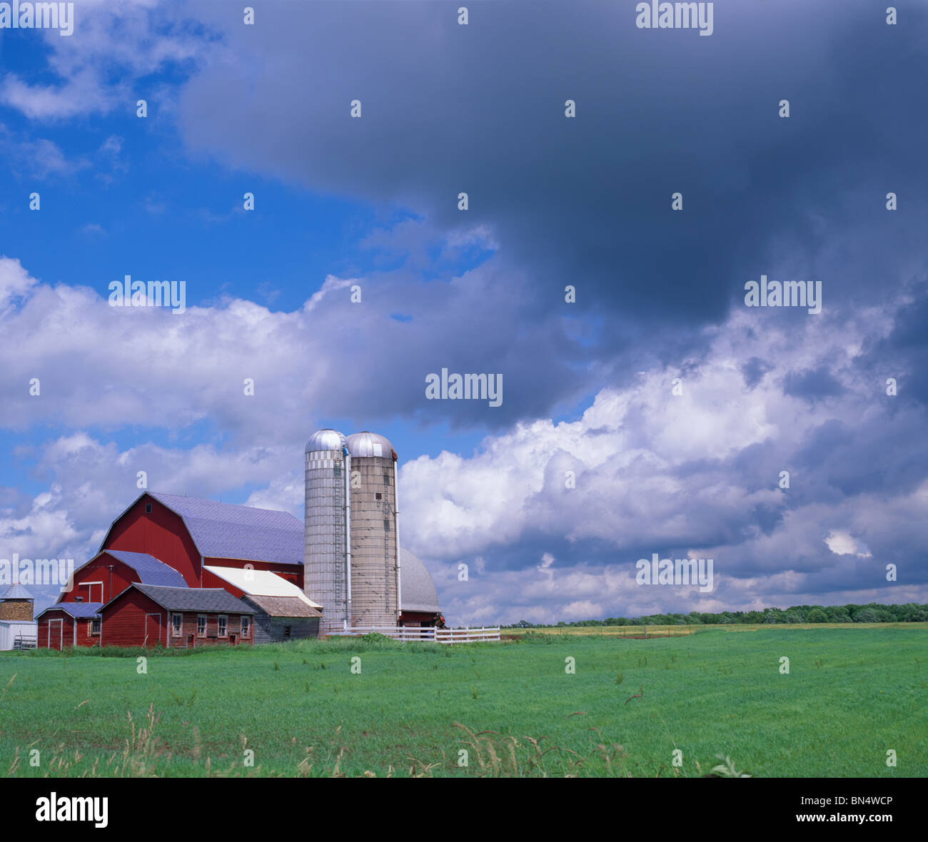 Clark County, WI Summer clouds over farm with silos, red barn and green fields - Stock Image