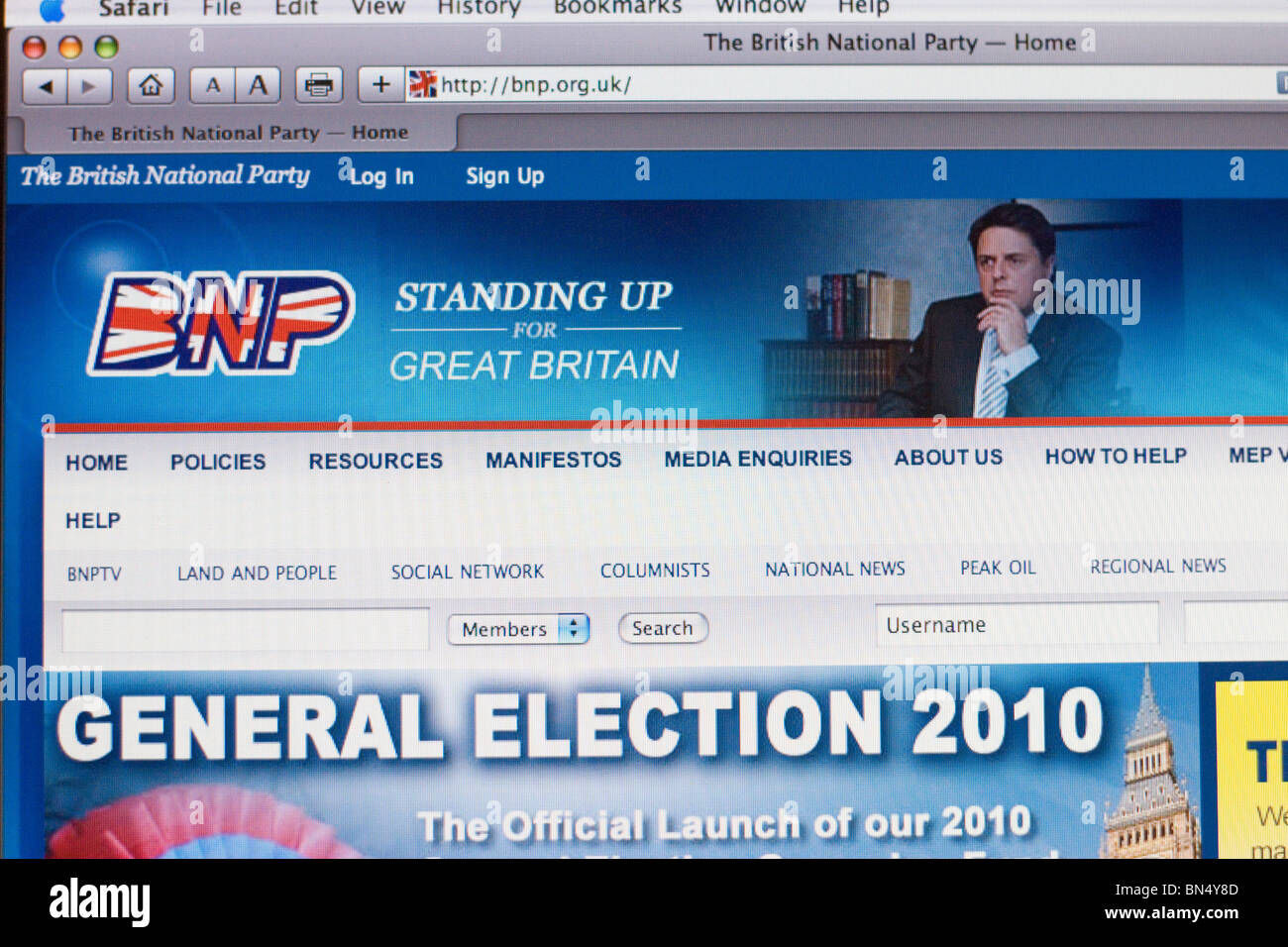 Screenshot  of British National Party election website - Stock Image