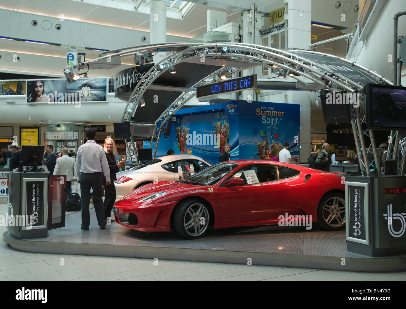 London Gatwick Airport South Terminal - luxury car lottery or draw promotion ticket sales July 2010 - Stock Image