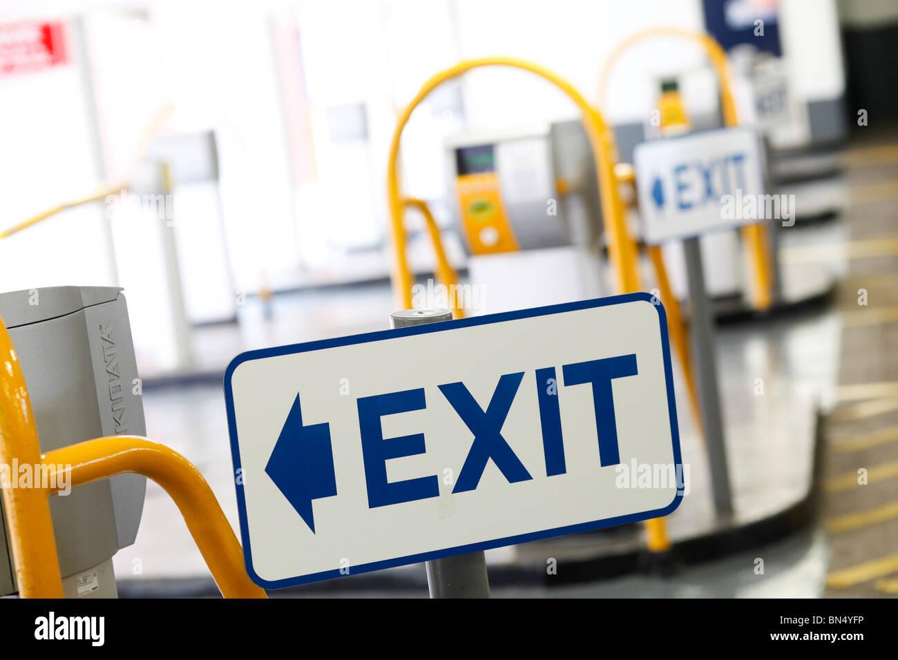 Car parking facilities, car park, exit sign - Stock Image