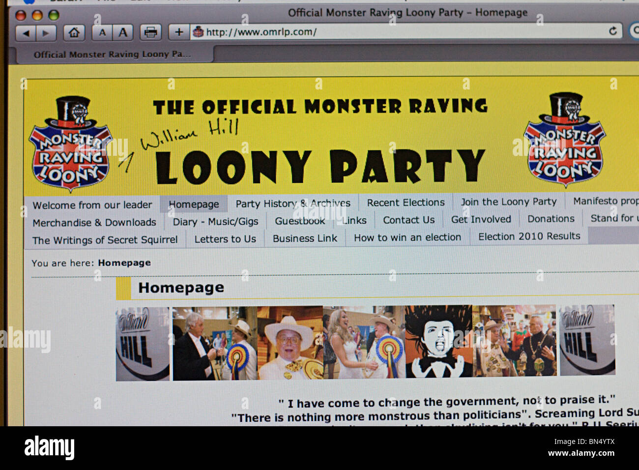 Screenshot of the Official Monster Raving Loony Party website - Stock Image