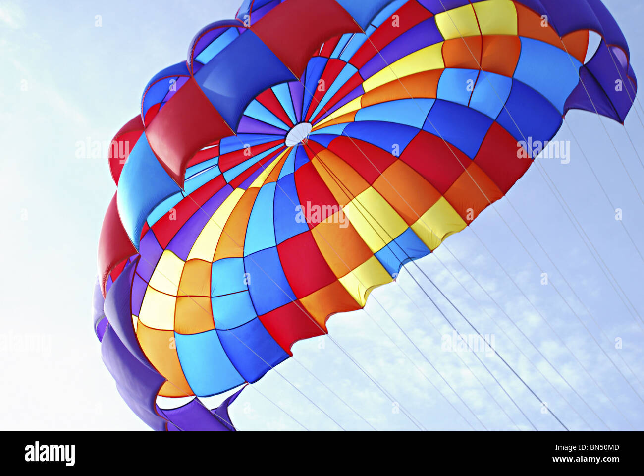 A close up of Parasailing umbrella - Stock Image
