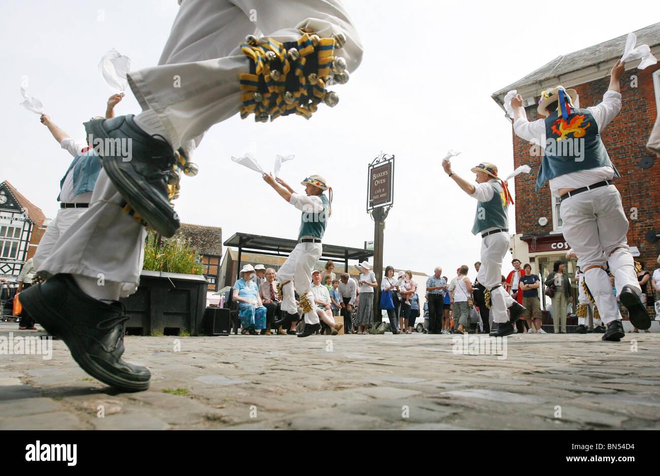 Morris Men Dancers in Wantage Oxon UK - Stock Image