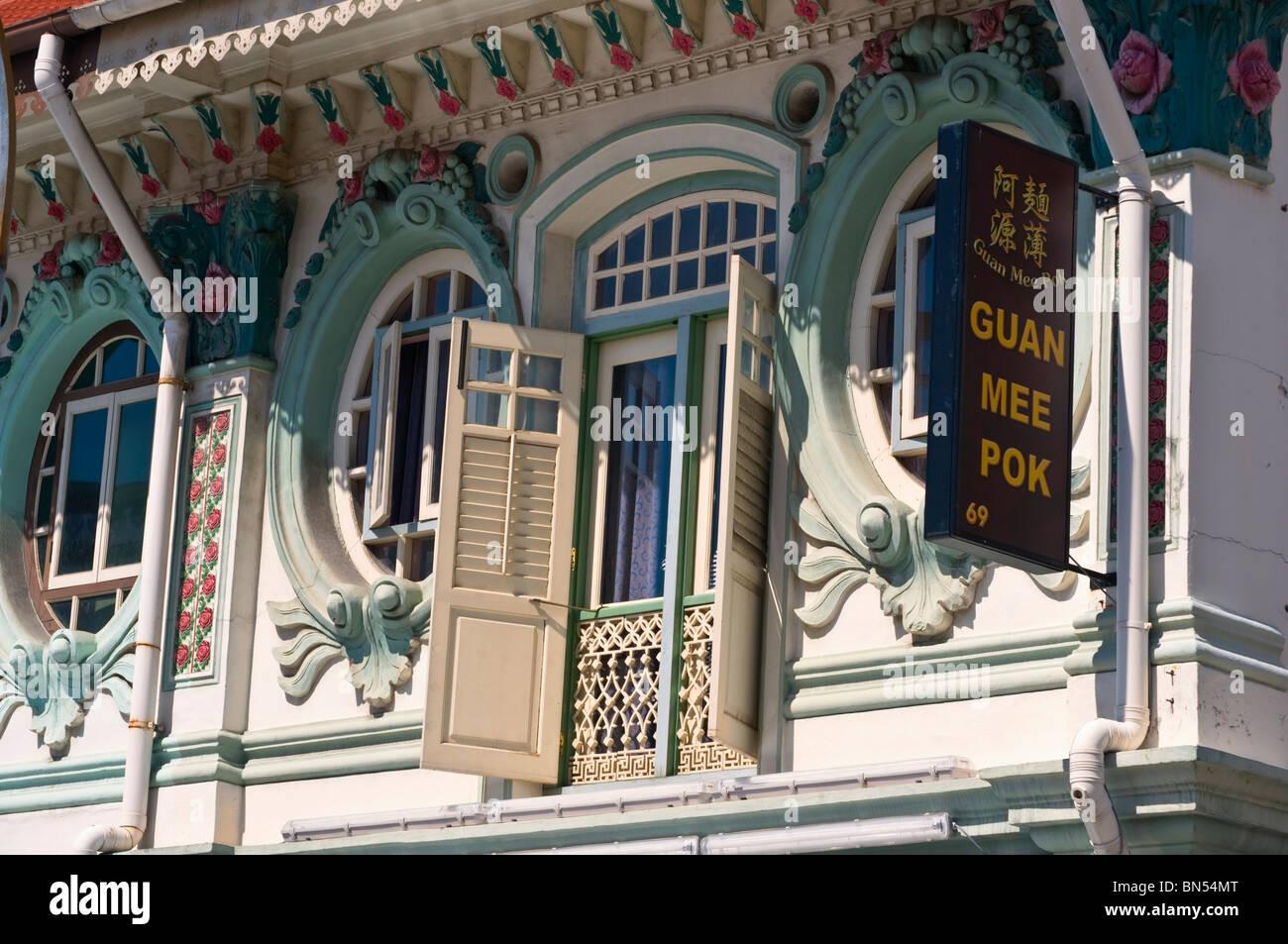 Traditional shophouses Chinatown Singapore - Stock Image