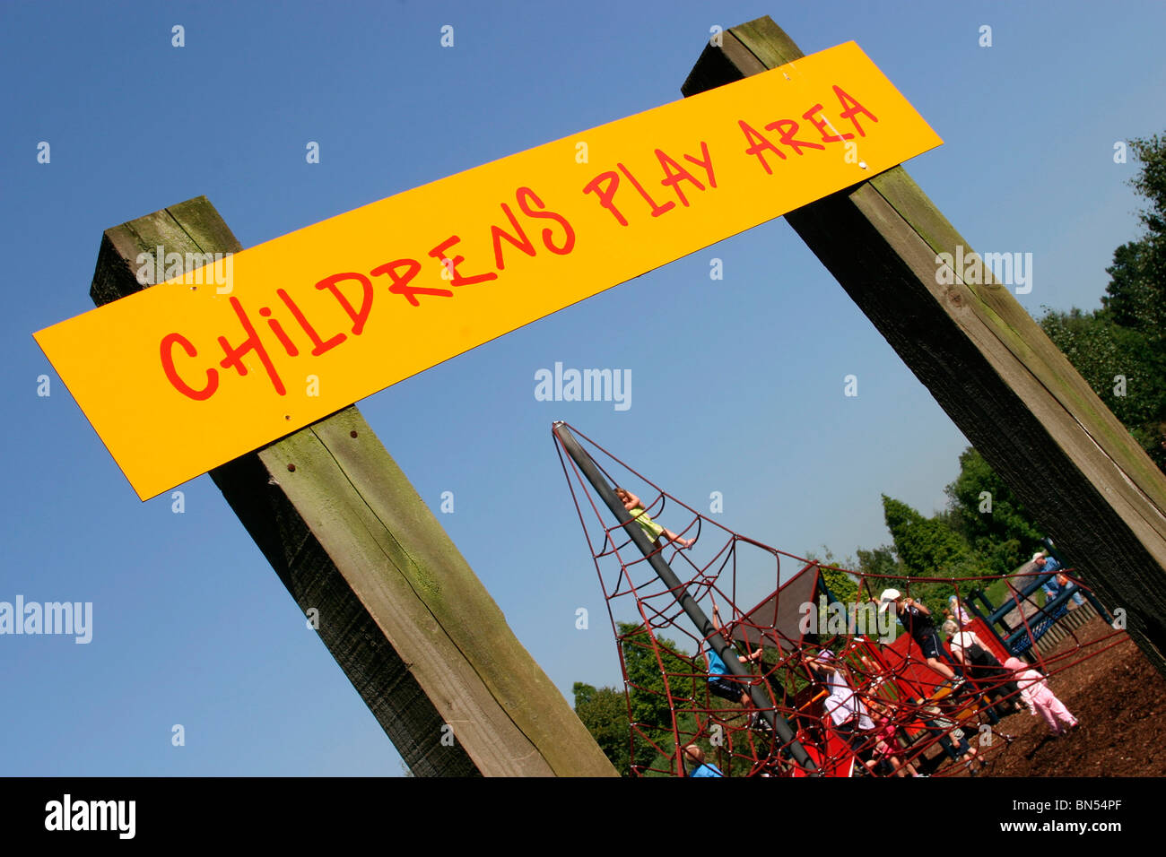 England, Cheshire, Stockport, Cheadle, Bruntwood Park, award-winning children's play area sign - Stock Image